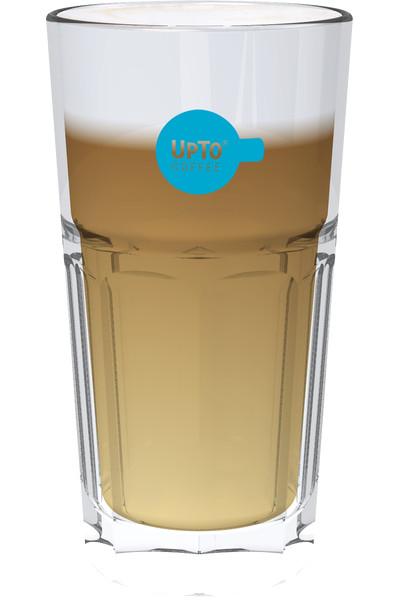 Latte Macchiato Glas blauw vol