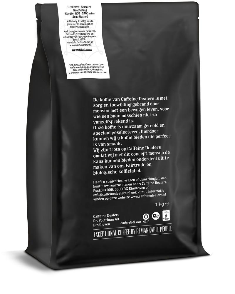 Caffeine Dealers Premium Roast 3d 1kg Achterzijde