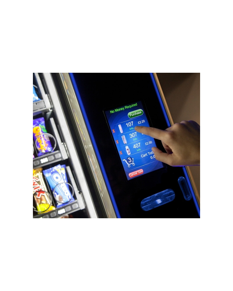 Crane Merchant Media Touch 6 display with cart